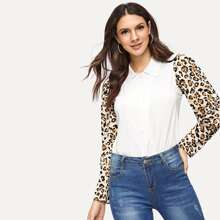 Contrast Cheetah Print Blouse