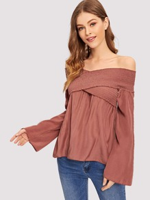 Off Shoulder Lettuce Trim Blouse