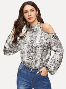 Cold-shoulder Snake Print Blouse