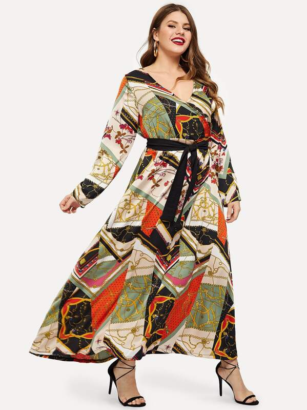 Plus Chain Print Surplice Self Tie Maxi Dress