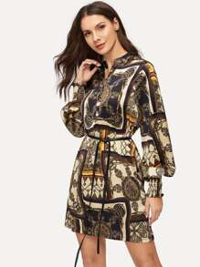 Scarf Print Self Tie Shirt Dress