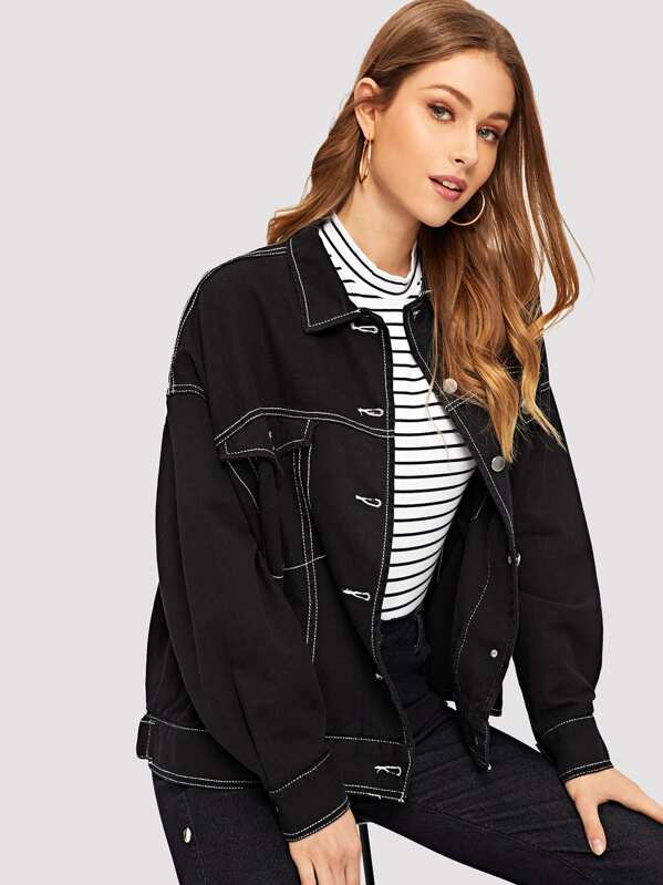 e6050dbec37f Single-breasted Contrast Stitching Denim Jacket | SHEIN UK