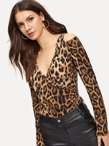 Cheetah Print V-neck Tee