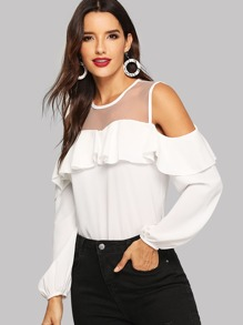 Cold Shoulder Contrast Mesh Bishop Sleeve Ruffle Blouse