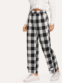 Elastic Waist Gingham Straight Leg Pants