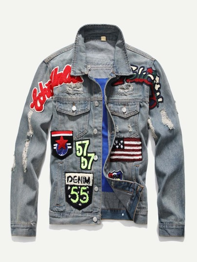 Guys Patched & Ripped Detail Denim Jacket
