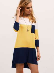 Color-block Pocket Front T-Shirt Dress