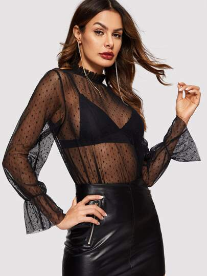 Frilled Neck Dobby Mesh Sheer Top