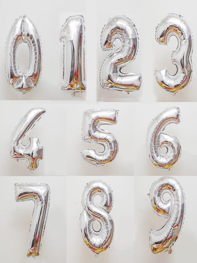 Decorative Number Balloon 1pc Silver