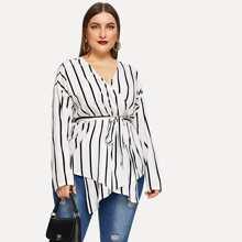 Plus Size V-neck Belted Striped Blouse - $15.00