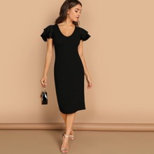 Tiered Flutter Sleeve Fitted Dress