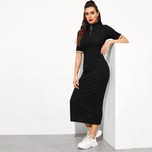 Zip Front Striped Cuff Rib-knit Dress