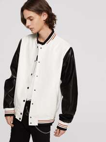 Men Two Tone Faux Leather Baseball Jacket