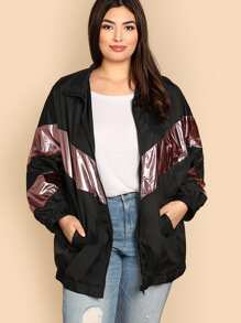 Plus Metallic Chevron Panel Zip Up Jacket