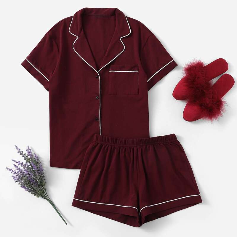 Contrast Piping Pocket Front Shirt & Shorts PJ Set, Burgundy