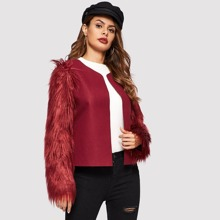 Image of Faux Fur Sleeve Open Front Coat