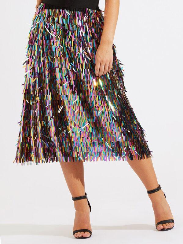 dddb109bb Elastic Waist Sequin Fringe Skirt   SHEIN