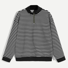 Guys Zip Up Half Placket Striped Pullover