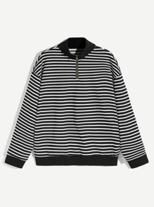 Men Zip Up Half Placket Striped Pullover