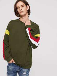 Men Crew Neck Drop Shoulder Contrast