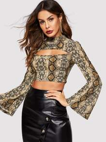 Bell Sleeve Cut Out Snake Top
