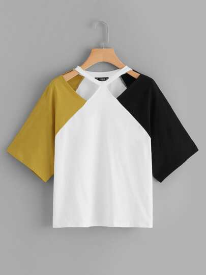 Plus Cut Out Front Colorblock Tee