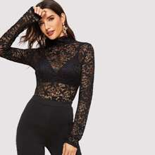 High Neck Guipure Lace Top Without Bra