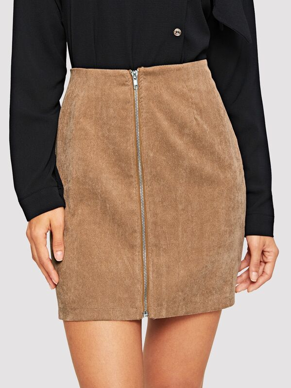 855fe5318b Cheap Exposed Zip Up Corduroy Skirt for sale Australia | SHEIN