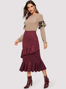 Layered Ruffle Hem Solid Skirt