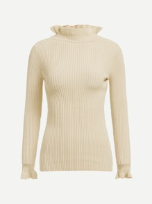 Frilled Trim Ribbed Knit Jumper