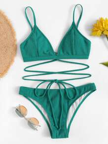 Self-tie Plain Bikini Set