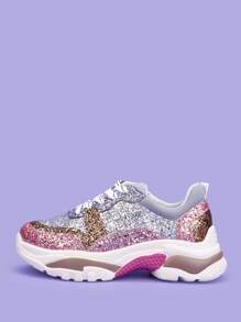 Lace-up Glitter Sneakers