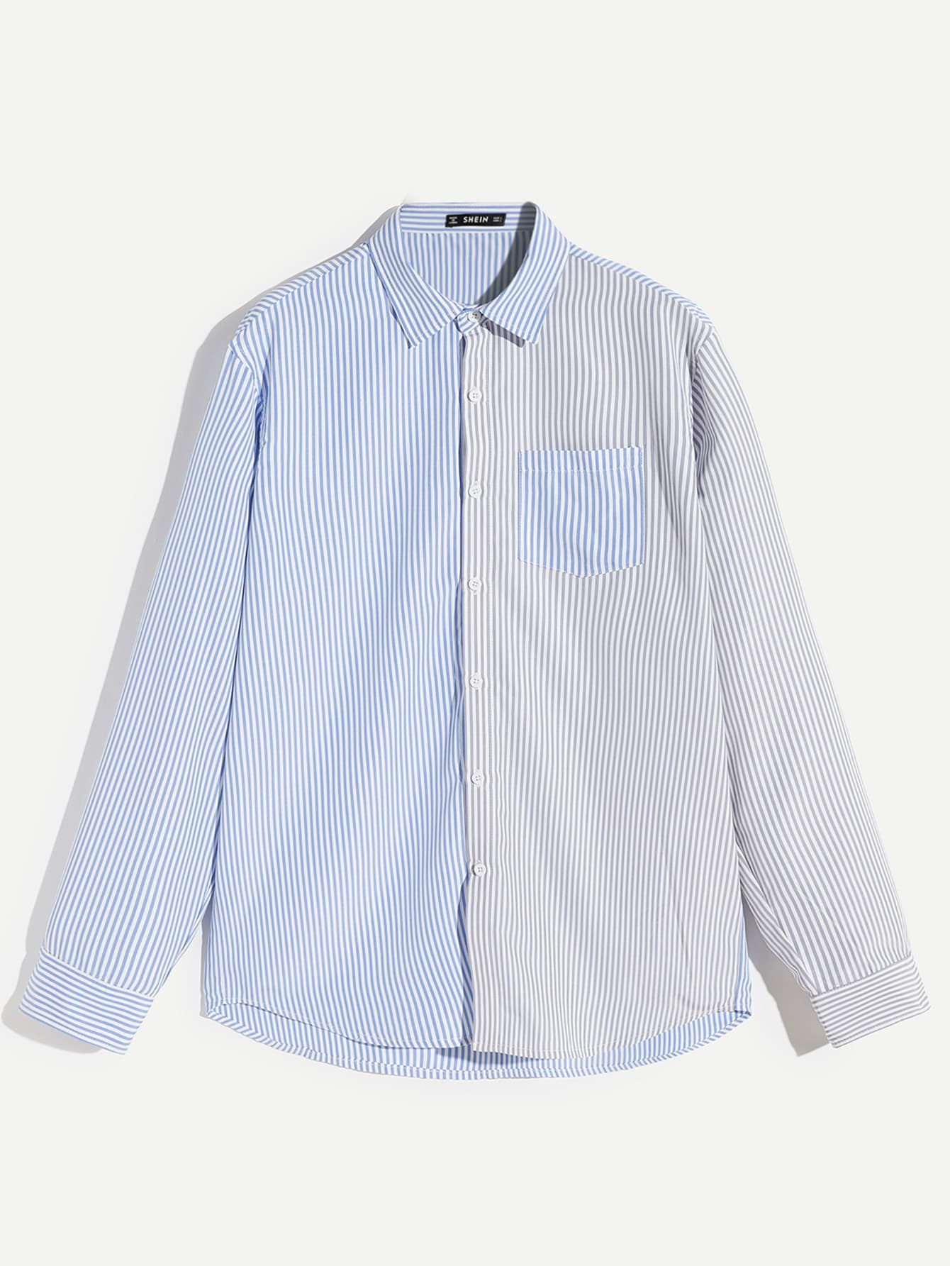 Men Pocket Patched Striped Shirt Men Pocket Patched Striped Shirt