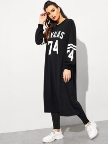 Number and Letter Print Sweatshirt Dress