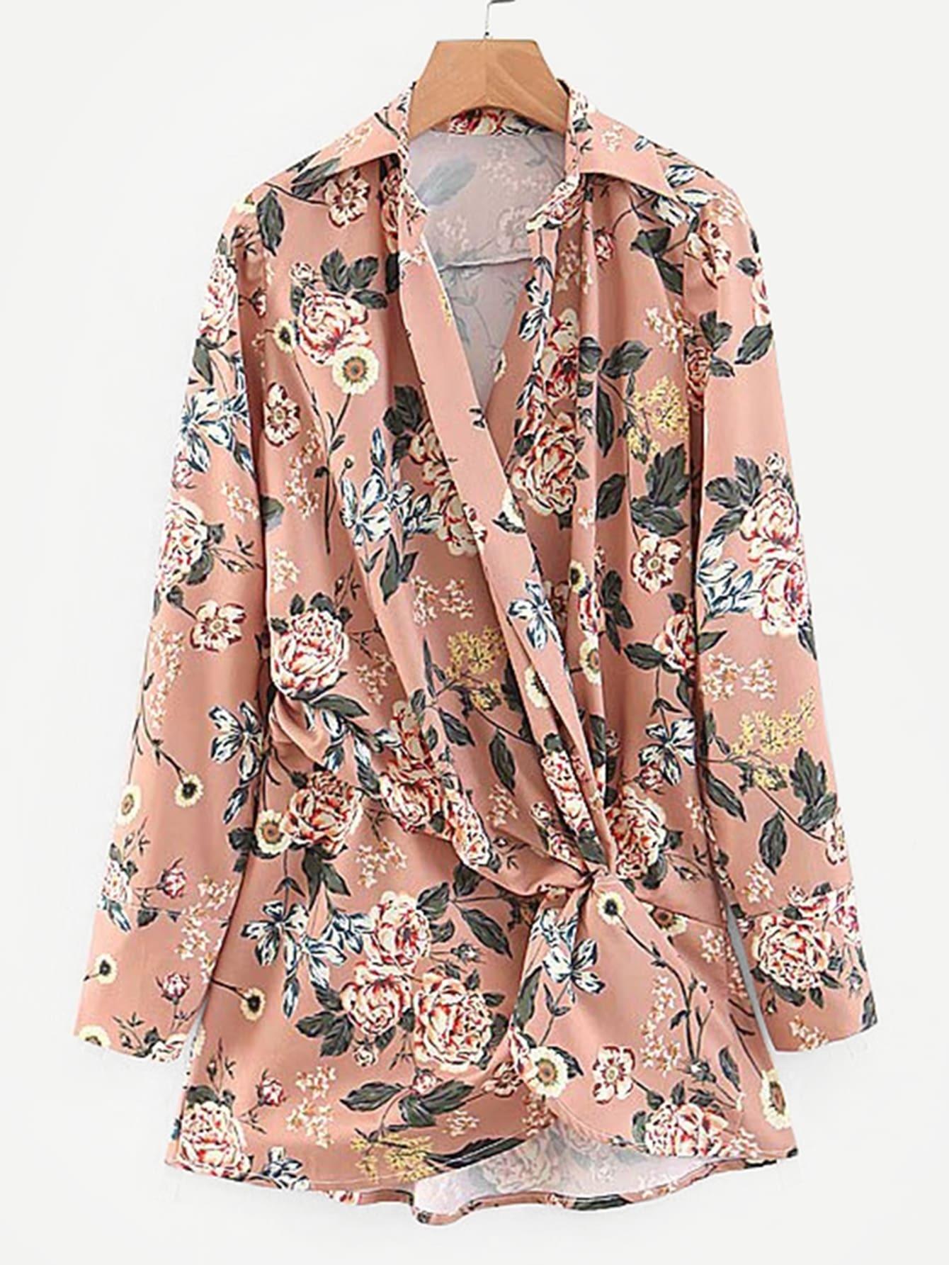 Twist Side Floral Print Blouse Twist Side Floral Print Blouse