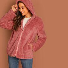 Zip Up Hooded Teddy Jacket