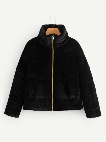 Zip-up Velvet Solid Puffer Coat