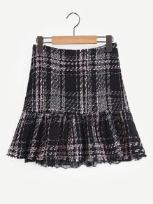 Contrast Lace Plaid Tweed Skirt