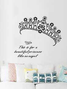 Crown & Slogan Print Wall Sticker