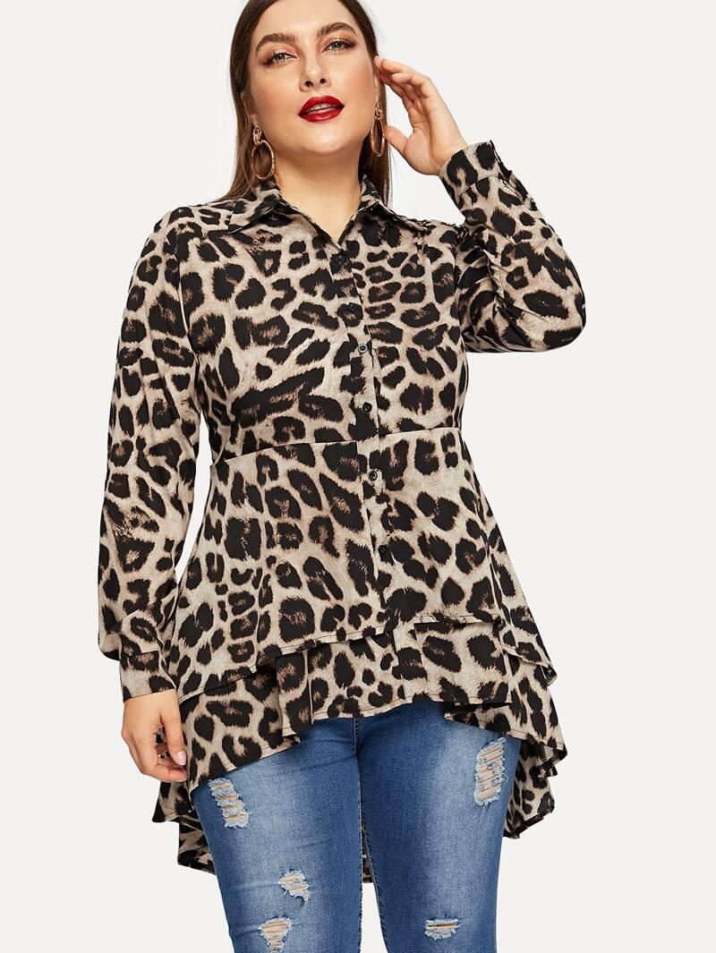 style de la mode de 2019 plusieurs couleurs large choix de couleurs et de dessins Blouse asymétrique avec imprimé léopard