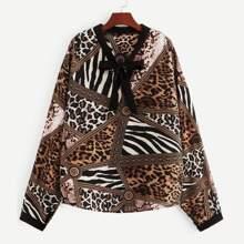 Plus Cheetah Print Bow Front Blouse