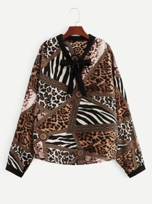 Plus Cheetah Print Bow Front Blouse