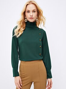 High Neck Button Front Blouse