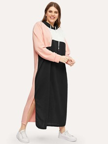 Plus Cut And Sew Panel Hoodie Dress
