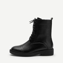 Plain Lace-up Boots