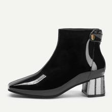 Plaid Chunky Heeled Boots
