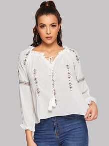 Floral Embroidered Tie Neck Raglan Sleeve Blouse