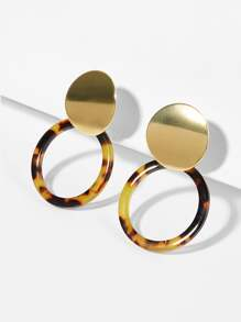 Tortoiseshell Pattern Circle Drop Earrings 1pair