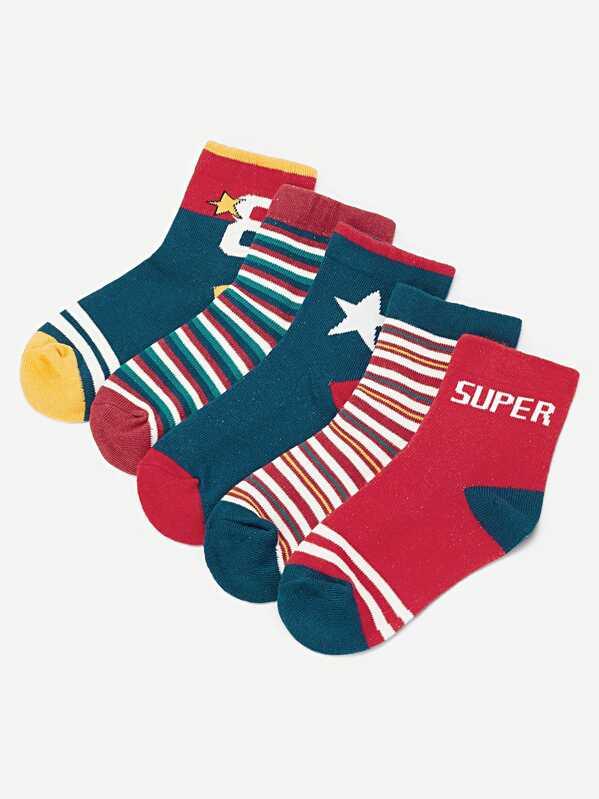 23553e7278e2b Комплект полосатые носки 5 пар для маленьких детей | SHEIN