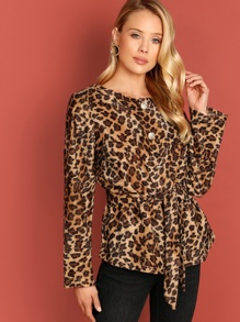 Button Up Leopard Coat